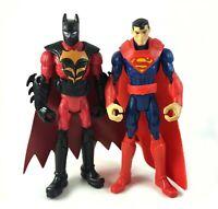 """Superman & Tiger Claw Batman Mattel DC Unlimited 3.75"""" Figure Lot Black Red Suit"""