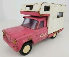 Vintage Tonka Pressed Steel Jeep Gladiator RV Camper Pink & White parts / repair
