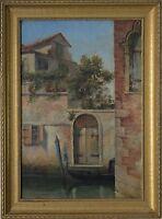 British Herbert John Finn(1860-1942) Oil A Venetian Scene of a Gondola on River