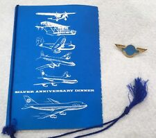 PanAm Airlines Silver Anniversary Dinner Menu and pin Miami November 18 1970