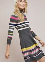NWT $148 Anthropologie Maeve striped turtleneck swing dress Size XS gray multi