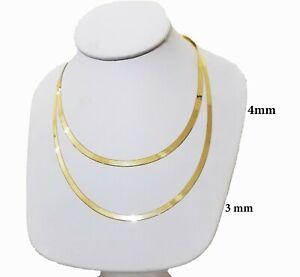 """10k Yellow Gold 3mm 4mm Herringbone Chain 18""""-24"""" Inch Mens Women REAL 10kt"""