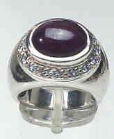 925 Silber Ring Blogger großer natürlicher Rubin-Cabochon RG 51/16,2mm / A653