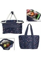 2pc Set Large Insulated Picnic Basket And Tote Bag Pockets Zipper Brand New