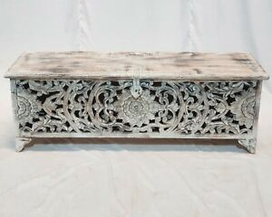 MADE TO ORDER Dynasty French Hand Carved Blanket Box Chest Whitewash Rustic Nice