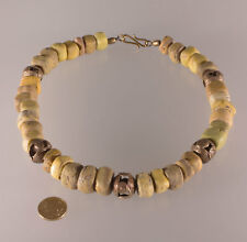 7331 Necklace ancient Hebron ( 1820-1900 ) Glass trade beads Akan  bronze