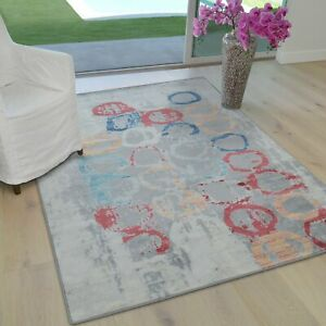 Abstract Circle Geometric Printed Contemporary Bohemian 5x7 Rugs Multi and...