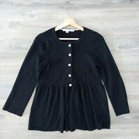 Boden Womens Size 14 Wool Black Long Sleeve Button Soft Flare Knit Cardigan Top