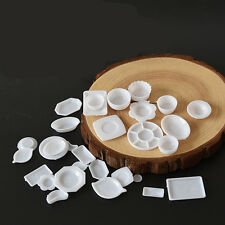 33Pcs Miniature 1/12 Scale Dollhouse Tableware Kitchen Plastic Plates Kids Set