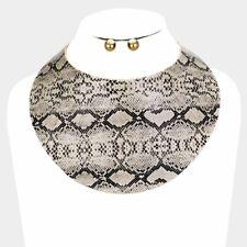 LUXE Statement Gold Black Cream Snake Cuff Choker Necklace Set Rocks Boutique