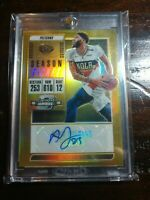 Anthony Davis 2018/19 Contenders Optic Gold Prizm Auto #09/10 Season Ticket