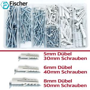 Fischer 260tlg Set Dübel Schrauben 5 6 8mm  30 40 50mm Nylondübel Allzweckdübel