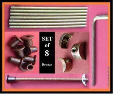 Set 8 Bed bolt connectors/replacements.150mm.M6  Half Moon Threaded Nuts .BRONZE