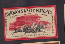 Ancienne étiquette Allumette Guinée Britannique  BN25425 Cheval Jockey