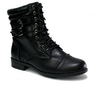 Ladies New Brand Chunky Lace Up Low Heel Buckle Biker Zip Up Formal Boot