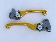 Gold Pivot Brake Clutch Levers For Suzuki RMX250S 1996-2013 MX