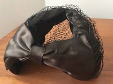 Vintage Womens Formal, Weddings, Races, Brown Satin Hat With Veil Detail #812A