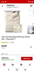 4 Piece Woodland Whimsy Sheet Set Pillow fort For FULL BED NWOT