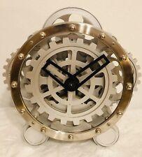 Kikkerland Open Gear Wall/Mantle Clock Nickel Finish Steampunk