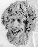 "Handmade 15"" Bacchus Folk Art Classic, a Cast Stone Wall Sculpture by Claybraven"