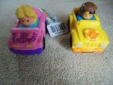 Lot 2 NWT Little People Wheelies U See What U Get Girl Pink Jeep Aviator Hat Boy