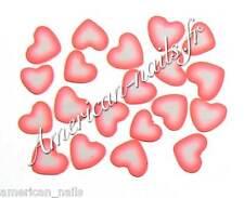 50 bijoux pour Déco d'Ongles TRANCHES de FIMO Coeurs ROSE FLUO Nail Art