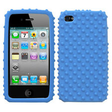 For Apple iPhone 4S/4 Solid Skin Case Cover (Dark Blue) (with Dots)