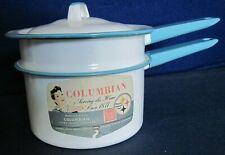 Vintage UNUSED 1950/60 Columbian Porcelain enameled steel 1-1/2 qt double boiler