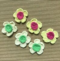 """30 pc x 1.5"""" 2-layer Hand Crocheted Cotton Spring Flower Appliques/Trims ST241"""