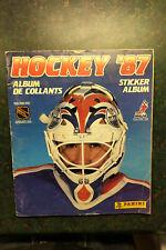1987 Panini Hockey Sticker Album with stickers 395/396 near complete in album