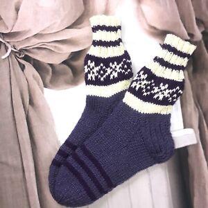 Size XL 9-10 Wool B Hand knitted  Fair Isle Native Folk Style Cosy Lounge Socks