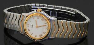 Ebel Wave 1057901 SS/18K gold quartz ladies watch w/ Roman cream dial
