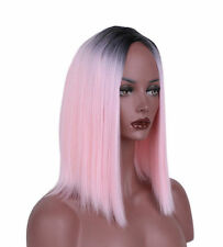 Women Fashion Wig Synthetic Ombre Pink Bob Hair Short Straight Dark Roots Wigs