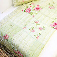 Shabby Victorian Style Country Green Velour Chiffon Rose Quilted Comforter