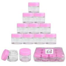 Beauticom® (12 PCS) 7G/7ML Clear Plastic Refillable Jars with Pink Lids