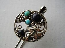 Arts & Crafts DORRIE NOSSITER Silver Brooch/Pin setwith Lapis Lazuli & Turquoise