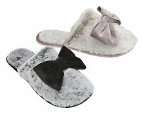 Dunlop Ladies Womens Slippers Slip On Memory Foam Faux Fur Bow Sizes 3-8