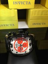 Invicta Men's 10288 Lupah Chronograph White Dial Black Leather Watch STUNNING!!