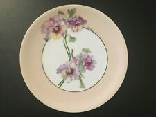 """Bavaria hand painted pansy pansies 8.5"""" plate"""