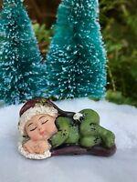 Miniature FAIRY GARDEN Winter CHRISTMAS Sleeping Baby Figurine Green w Santa Hat
