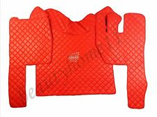 Set of RHD Floor Mats Cover For VOLVO FH 2004-2014 AUTOMAT RED Eco Leather.