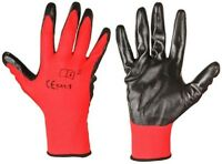 24 PAIRS OF NEW NITRILE RED COATED WORK GLOVES SIZES 7 - 10