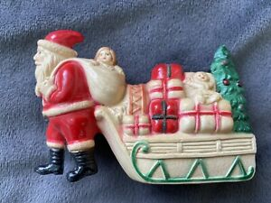 Old Celluloid SANTA PULLING SLEIGH Viscaloid 1920s Excellent Condition