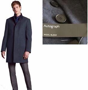 M&S Overcoat Autograph Funnel Neck Wool Blend Coat 3XXXL  Blue
