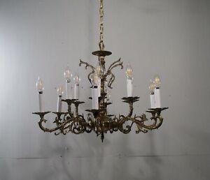 Antique Vintage Bronze 12 Light Chandelier 2 Tiers Elaborate Ornate