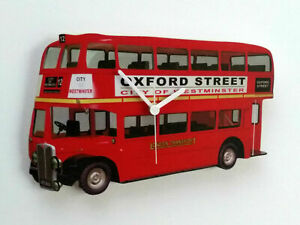 Londres Rojo Doble Decker Bus Reloj de Pared Oxford Calle Hecho a Mano Madera