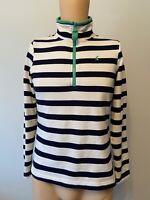 Joules Jumper Ladies Womens Size 10 White Navy Blue Stripe Sweatshirt