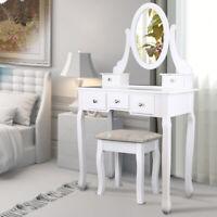 Elegant Blanc Coiffeuse 5 Tiroirs en kit Tabouret & Coussin Miroir Pivotant