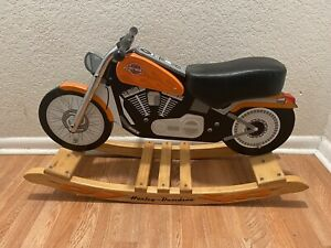 Harley Davidson Wooden Motorcycle Child's Riding Rocker Vintage Flame Baby Toy