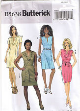 Easy Fitted Dress Neckline Slit Ruffles Butterick Sewing Pattern 8 10 12 14 16
